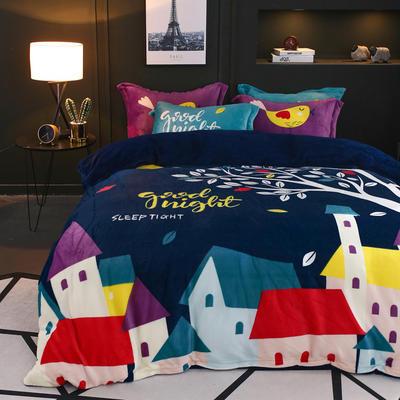 2018新款大阪法莱绒四件套 1.8m(6英尺)床 晚安