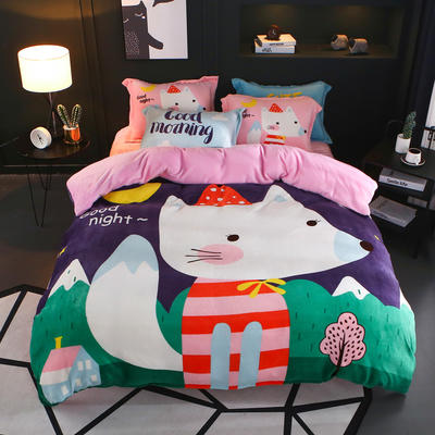 2018新款大阪法莱绒四件套 1.5m(5英尺)床 小狐玛丽