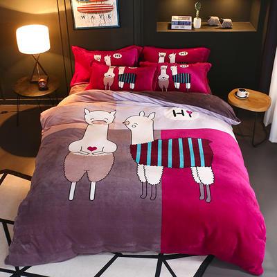 2018新款大阪法莱绒四件套 1.5m(5英尺)床 羊驼