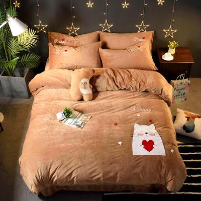 2018新品毛巾绣水晶绒四件套 标准1.5m-1.8m床 爱心猫-咖色