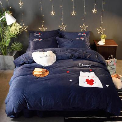 2018新品毛巾绣水晶绒四件套 标准1.5m-1.8m床 爱心猫-蓝色