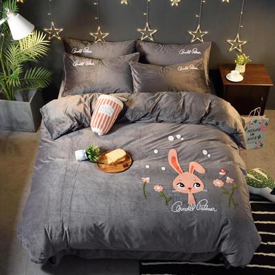 2018新品毛巾绣水晶绒四件套 标准1.5m-1.8m床 欢乐兔-灰色