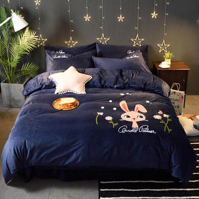 2018新品毛巾绣水晶绒四件套 标准1.5m-1.8m床 欢乐兔-蓝色
