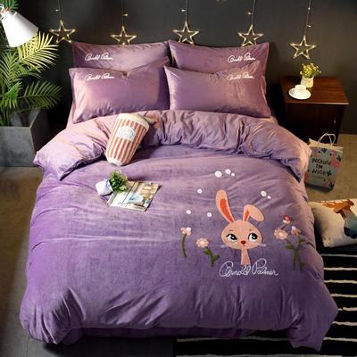 2018新品毛巾绣水晶绒四件套 标准1.5m-1.8m床 欢乐兔-紫色