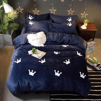 2018新品毛巾绣水晶绒四件套 标准1.5m-1.8m床 皇冠-蓝色