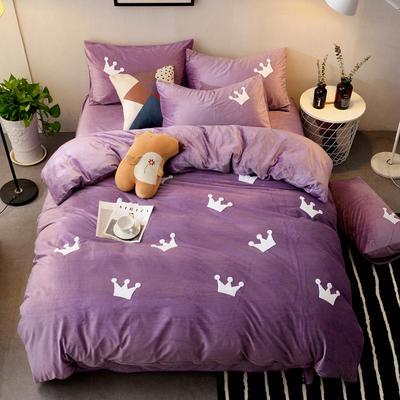 2018新品毛巾绣水晶绒四件套 标准1.5m-1.8m床 皇冠-紫色
