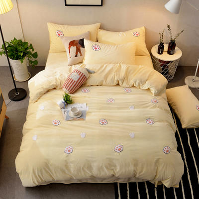 2018新品毛巾绣水晶绒四件套 标准1.5m-1.8m床 萌萌爪-黄色