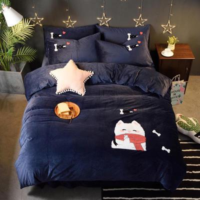 2018新品毛巾绣水晶绒四件套 标准1.5m-1.8m床 顽皮狗-蓝色
