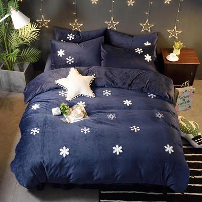 2018新品毛巾绣水晶绒四件套 标准1.5m-1.8m床 雪花-蓝色