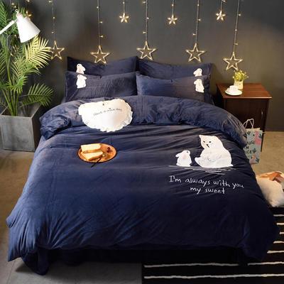 2018新品毛巾绣水晶绒四件套 标准1.5m-1.8m床 约会-蓝色