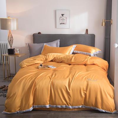 2019新款水洗真丝花边刺绣字母四件套欧若拉系列 1.5m(5英尺)床 欧若拉 橙