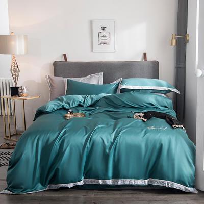 2019新款水洗真丝花边刺绣字母四件套欧若拉系列 1.8m(6英尺)床 欧若拉 墨绿