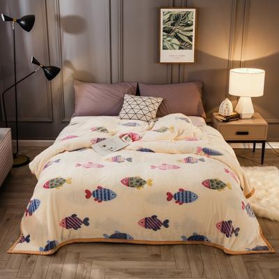 2019新款法莱绒毛毯 1.2*2 多彩鱼-米黄