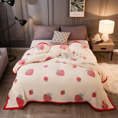 2019新款法莱绒毛毯 1.2*2 甜心草莓