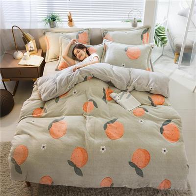 2019新款雪花绒四件套 1.2m床单款三件套 甜橙