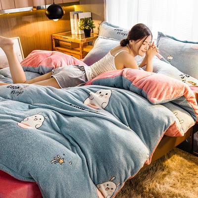 2019新款雪花绒四件套 1.2m床单款三件套 小萌兔