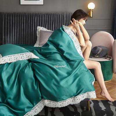 2020新款A版水洗真丝B版全棉蕾丝工艺四件套罗卡芙系列 1.5m床单款四件套 罗卡芙(清澈绿)