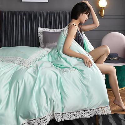 2020新款A版水洗真丝B版全棉蕾丝工艺四件套罗卡芙系列 1.5m床单款四件套 罗卡芙(清新绿)