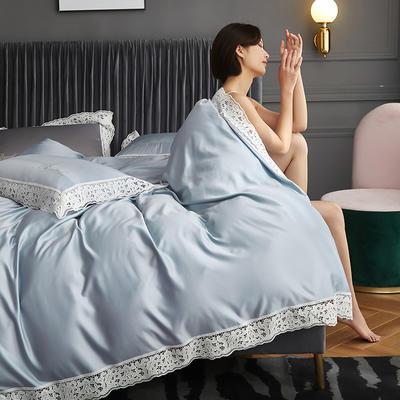 2020新款A版水洗真丝B版全棉蕾丝工艺四件套罗卡芙系列 1.5m床单款四件套 罗卡芙(天兰)
