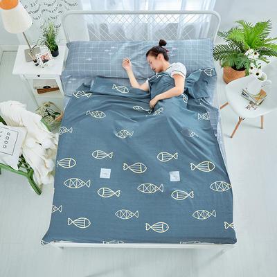 纯棉隔脏睡袋 好多鱼-灰120*230cm