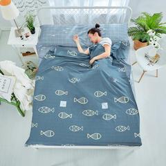 纯棉隔脏睡袋 好多鱼-灰160*230cm