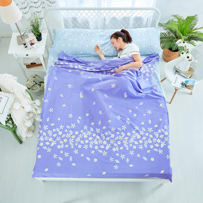纯棉隔脏睡袋 樱花之恋-紫160*230cm
