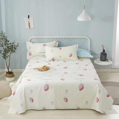 2020新款全棉印花单品床单 160cmx230cm 草莓甜心-米