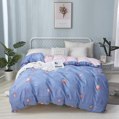 2020新款全棉印花单品被套 160x210cm 草莓甜心-蓝