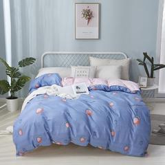 热款纯棉12868印花四件套网红款全棉三件套宿舍学生床被罩多规格可选 1.8m床四件套(标准款) 快乐小熊-蓝