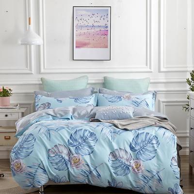 爆款纯棉12868印花四件套网红款全棉三件套宿舍学生床被罩多规格可选 1.5m床四件套 花间舞-蓝