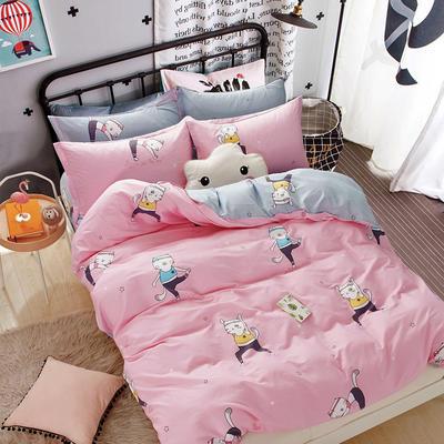 热款纯棉12868印花四件套网红款全棉三件套宿舍学生床被罩多规格可选 1.5m床四件套 健身猫-粉