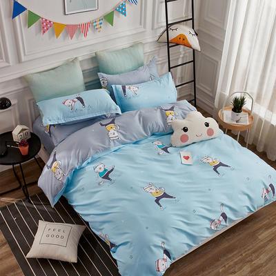 热款纯棉12868印花四件套网红款全棉三件套宿舍学生床被罩多规格可选 1.5m床四件套 健身猫-蓝