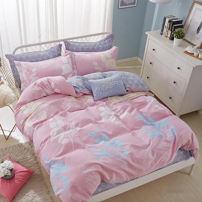热款纯棉12868印花四件套网红款全棉三件套宿舍学生床被罩多规格可选 1.8m床四件套(标准款) 叶叶深情-粉