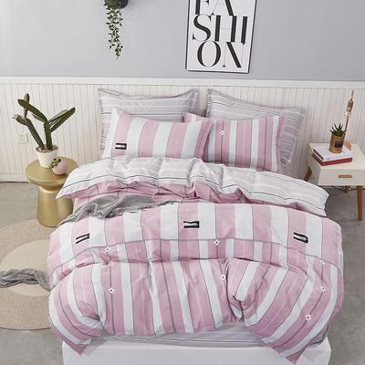 热款纯棉12868印花四件套网红款全棉三件套宿舍学生床被罩多规格可选 1.2m床三件套 花间蜜语-粉