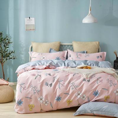 热款纯棉12868印花四件套网红款全棉三件套宿舍学生床被罩多规格可选 1.5m床四件套 恋香-粉