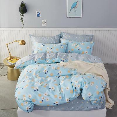 热款纯棉12868印花四件套网红款全棉三件套宿舍学生床被罩多规格可选 1.2m床三件套 花田物语-蓝