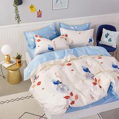 爆款纯棉12868印花四件套网红款全棉三件套宿舍学生床被罩多规格可选 1.2m床三件套 鸟语花香