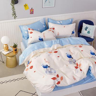 热款纯棉12868印花四件套网红款全棉三件套宿舍学生床被罩多规格可选 1.2m床三件套 鸟语花香