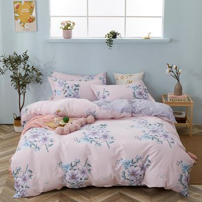 爆款纯棉12868印花四件套网红款全棉三件套宿舍学生床被罩多规格可选 1.2m床三件套 曼妙花姿-粉