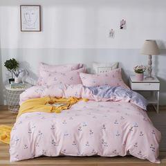 爆款纯棉12868印花四件套网红款全棉三件套宿舍学生床被罩多规格可选 1.2m床三件套 梦幻花语-粉