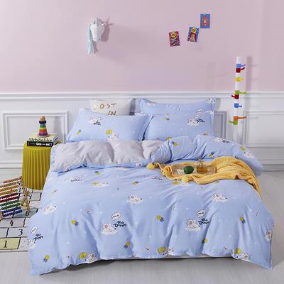 爆款纯棉12868印花四件套网红款全棉三件套宿舍学生床被罩多规格可选 1.2m床三件套 梦幻童年-蓝