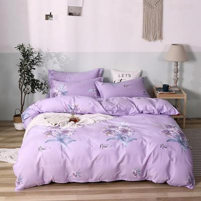 热款纯棉12868印花四件套网红款全棉三件套宿舍学生床被罩多规格可选 1.2m床三件套 清丽花香-紫