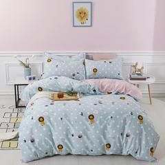 爆款纯棉12868印花四件套网红款全棉三件套宿舍学生床被罩多规格可选 1.2m床三件套 狮子王-蓝