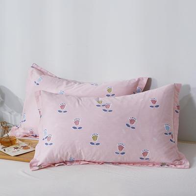 2020新款全棉印花单品枕套 48cmX74cm/对 梦幻花语-粉