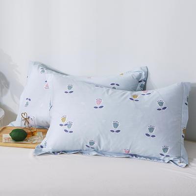 2020新款全棉印花单品枕套 48cmX74cm/对 梦幻花语-蓝