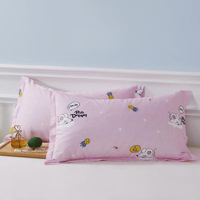 2020新款全棉印花单品枕套 48cmX74cm/对 梦幻童年-粉