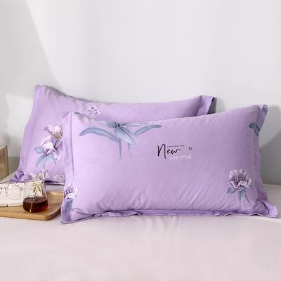 2020新款全棉印花单品枕套 48cmX74cm/对 清丽花香-紫