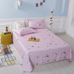 2020新款全棉印花单品床单 160cmx230cm 梦幻童年-粉