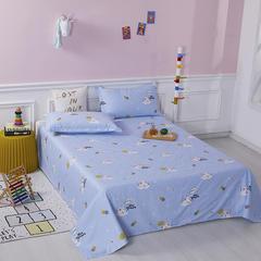 2020新款全棉印花单品床单 160cmx230cm 梦幻童年-蓝