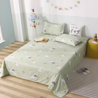 2020新款全棉印花单品床单 160cmx230cm 梦幻童年-绿